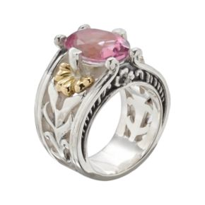 Lyric 18k Gold and Sterling Silver Pink Topaz and Diamond Accent Flower Ring