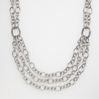 Lyric Sterling Silver Diamond Accent Oval-Link Bib Necklace