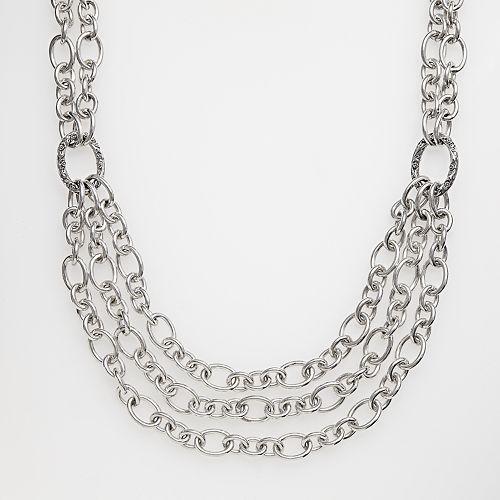 Lyric Sterling Silver Diamond Accent Oval-Link Bib Necklace