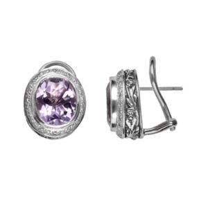 Lyric Sterling Silver Amethyst and Diamond Accent Oval Button Stud Earrings