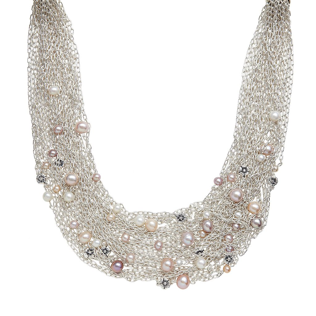 Lyric Sterling Silver Dyed Freshwater CulturedPearl & Diamond Accent Multistrand Necklace