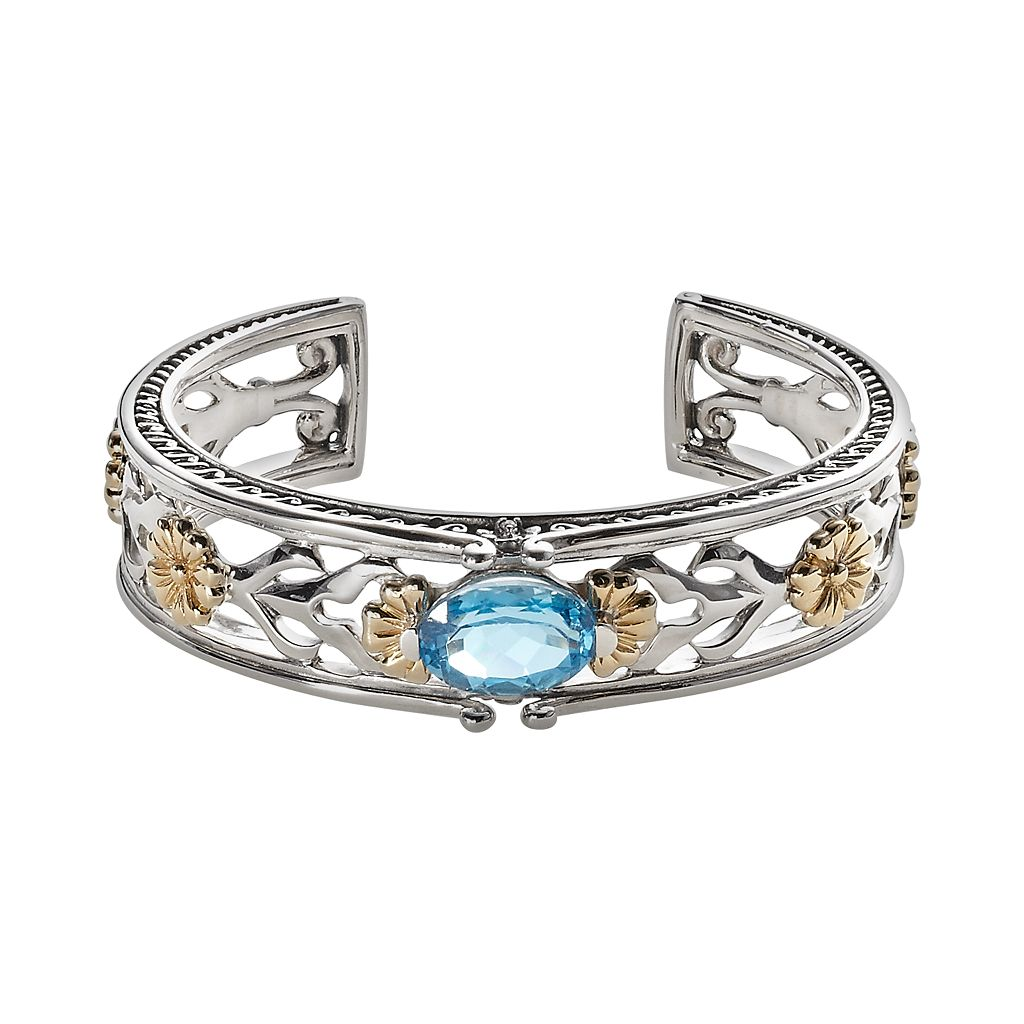 Lyric 18k Gold & Sterling Silver Blue Topaz & Diamond Accent Flower Cuff Bracelet