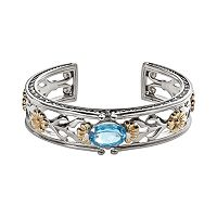 Lyric 18k Gold & Sterling Silver Blue Topaz & Diamond Accent Flower Cuff Bracelet