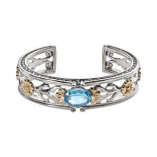 Lyric 18k Gold and Sterling Silver Blue Topaz and Diamond Accent Flower Cuff Bracelet