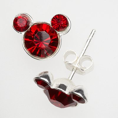 Disney Mickey Mouse Sterling Silver Dark Red Crystal Stud Earrings