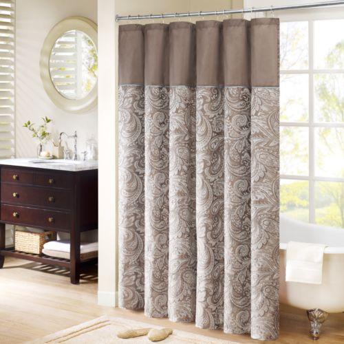 Madison Park Whitman Paisley Fabric Shower Curtain