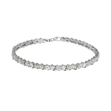 Sterling Silver 1/8-ct. T.W. Diamond Swirl Bracelet