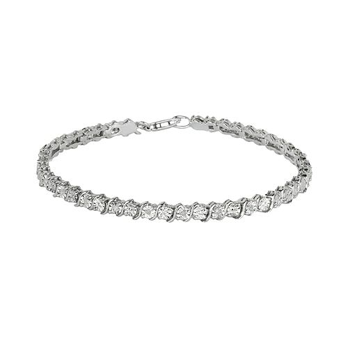 Sterling Silver 1/8-ct. T.W. Diamond Swirl Bracelet