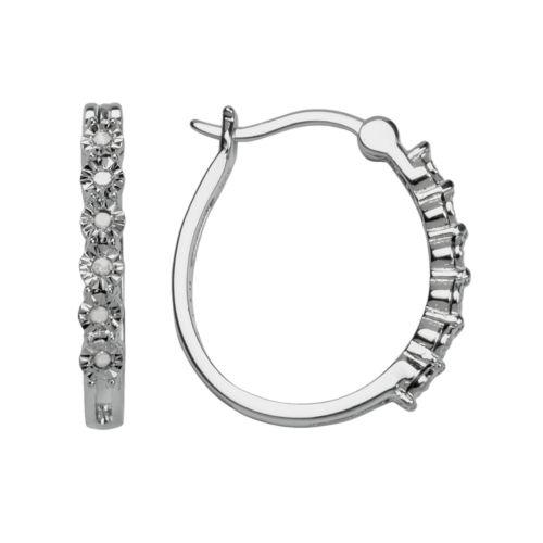 Sterling Silver 1/10-ct. T.W. Diamond Hoop Earrings