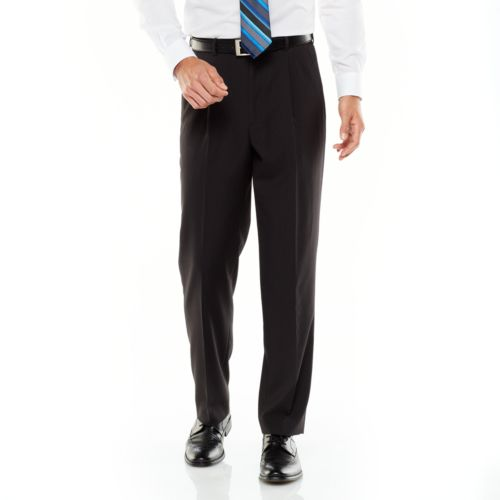 Adolfo Classic-Fit Striped Pleated Charcoal Suit Pants