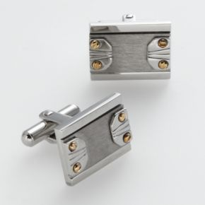 AXL by Triton Stainless Steel, Titanium and 14k Gold Cuff Links