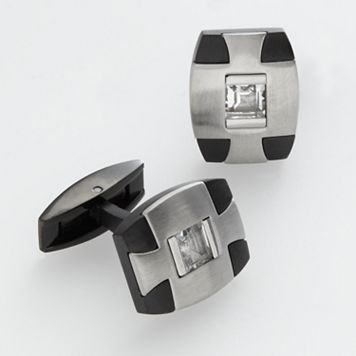 AXL by Triton Stainless Steel and Titanium Black Ion White Topaz Cuff Links