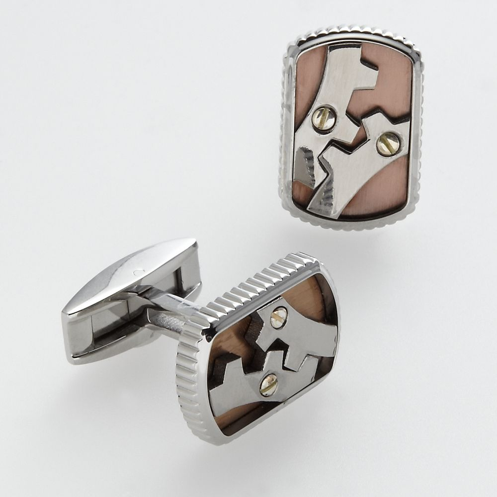 AXL by Triton Stainless Steel, Titanium and 14k Gold Gear Cuff Links