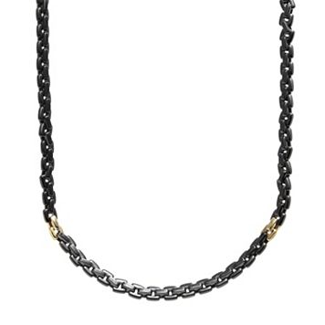 AXL by Triton Stainless Steel Black Ion & 14k Gold-Over-Stainless Steel Necklace - Men
