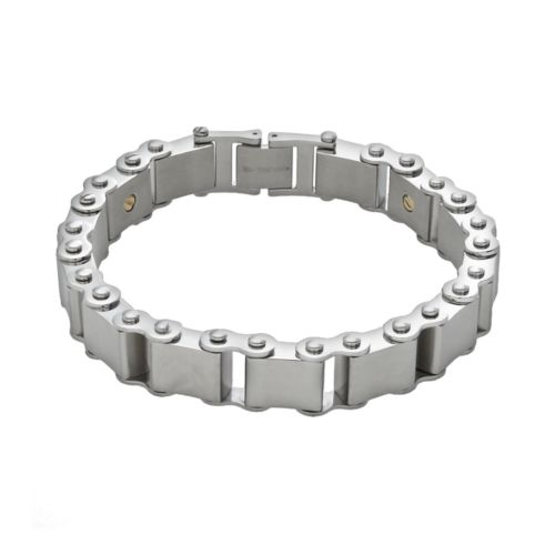 AXL by Triton 14k Gold Over Stainless Steel and Stainless Steel Bracelet - Men