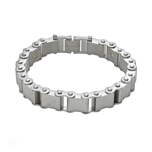 AXL by Triton 14k Gold Over Stainless Steel & Stainless Steel Bracelet - Men
