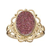 18k Gold Over Silver Drusy Ring
