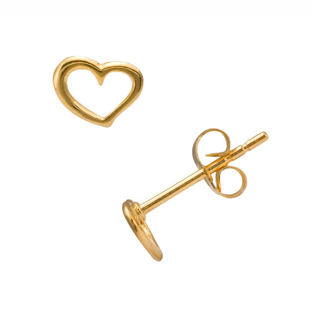 Itsy Bitsy 10k Gold-Over-Silver Openwork Heart Stud Earrings