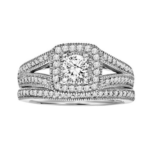 Cherish Always Round-Cut Diamond Engagement Ring Set in 14k White Gold (1 ct. T.W.)