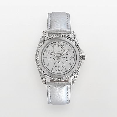 Hello Kitty Silver Tone Simulated Crystal Gray Watch - Women