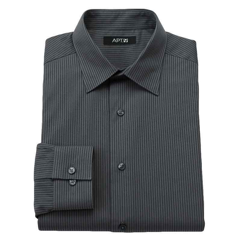 Apt 9 Slim Fit Patterned Spread Collar Dress Shirt
