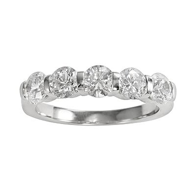 14k White Gold 1 1/2-ct. T.W. Round-Cut Diamond Five-Stone Ring