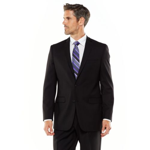 Adolfo Classic-Fit Solid Black Suit Jacket