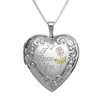 Sterling Silver I Love You Heart Locket Pendant