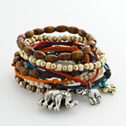 Mudd Two Tone Bead and Charm Stretch Bracelet Set