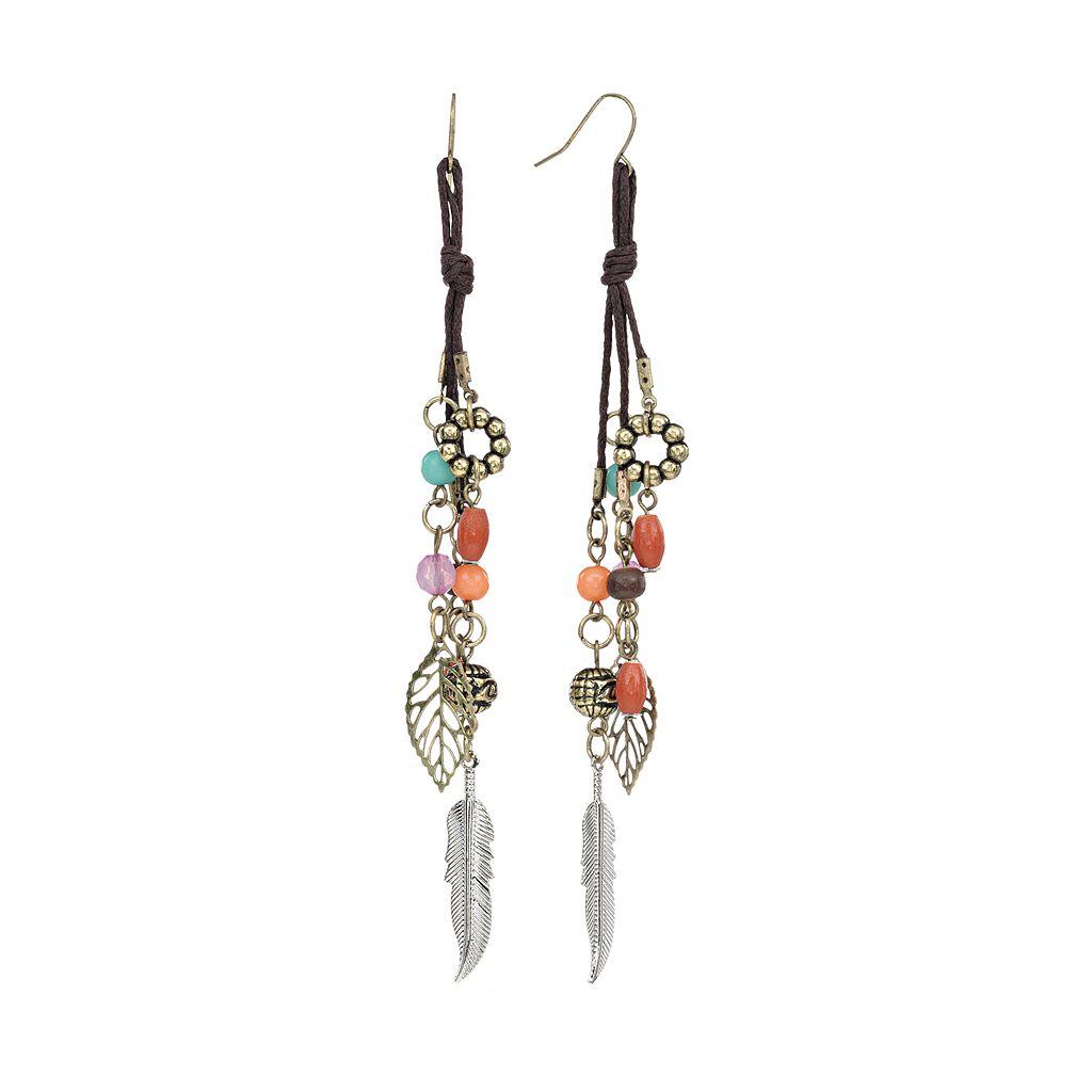 Mudd® Two Tone Bead Leaf & Feather Charm Linear Drop Earrings