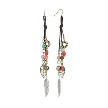 Mudd® Two Tone Bead Leaf & Feather Charm Linear Drop Earrings