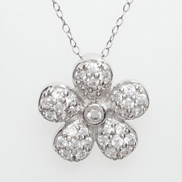 Sterling Silver Cubic Zirconia Flower Pendant