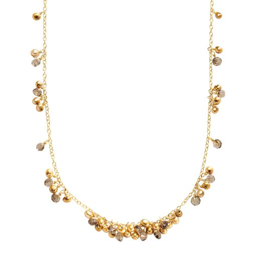 18k Gold Over Silver Dyed Freshwater Cultured Pearl and Smoky Quartz Cluster Necklace