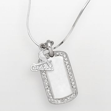 LogoArt St. Louis Cardinals Sterling Silver Cubic Zirconia Logo Dog Tag Pendant