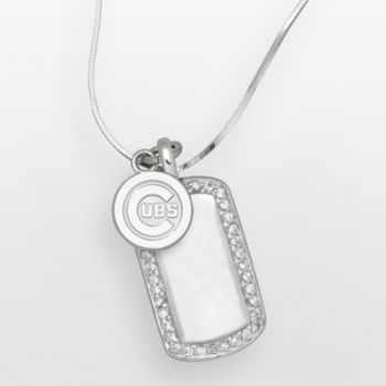 LogoArt Chicago Cubs Sterling Silver Cubic Zirconia Logo Dog Tag Pendant
