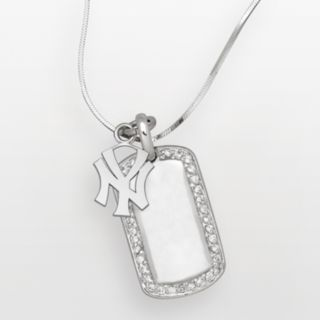 LogoArt New York Yankees Sterling Silver Cubic Zirconia Logo Dog Tag Pendant