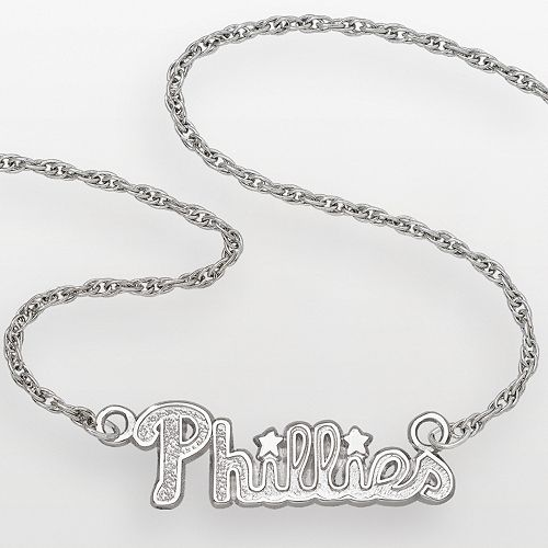 LogoArt Philadelphia Phillies Sterling Silver Script Necklace