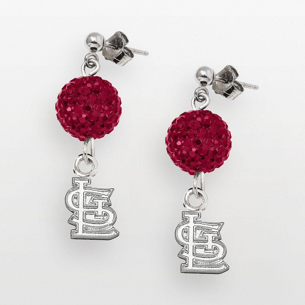 LogoArt St. Louis Cardinals Sterling Silver Crystal Logo Linear Drop Earrings