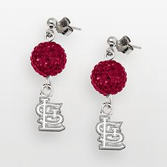 LogoArt St. Louis Cardinals Sterling Silver Crystal Logo Linear Drop Earrings
