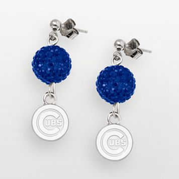 LogoArt Chicago Cubs Sterling Silver Crystal Logo Linear Drop Earrings
