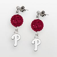 LogoArt Philadelphia Phillies Sterling Silver Crystal Logo Linear Drop Earrings