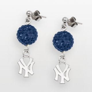 LogoArt New York Yankees Sterling Silver Crystal Logo Linear Drop Earrings