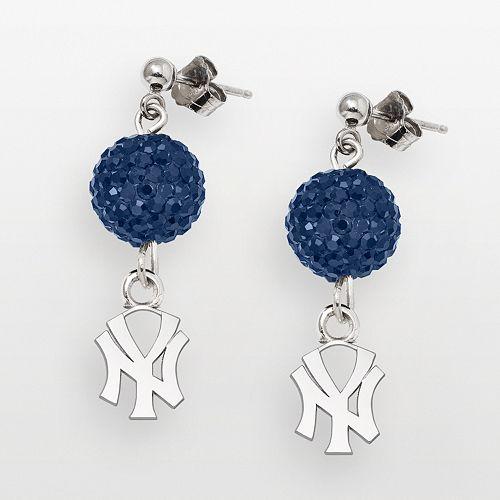 LogoArt New York Yankees Sterling Silver Crystal Logo Linear Drop Earrings