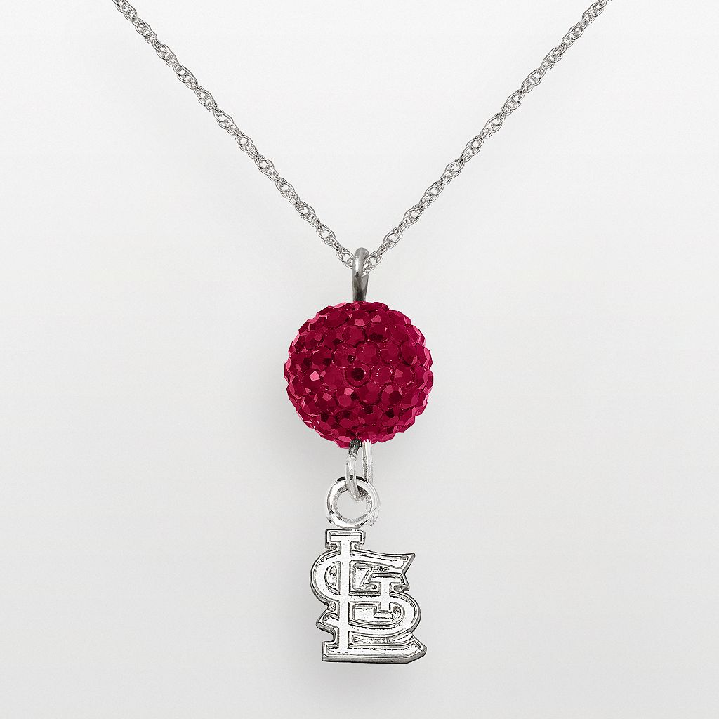 LogoArt St. Louis Cardinals Sterling Silver Crystal Logo Pendant