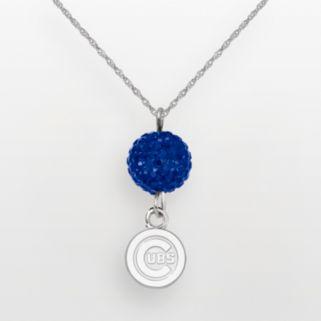 LogoArt Chicago Cubs Sterling Silver Crystal Logo Pendant