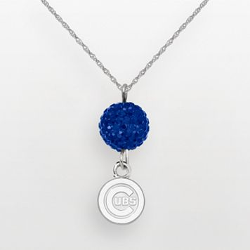 LogoArt Chicago Cubs Sterling Silver Crystal Logo Pendant