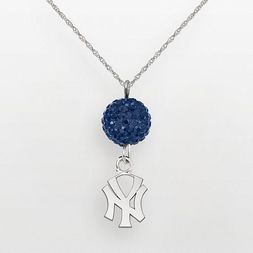 LogoArt New York Yankees Sterling Silver Crystal Logo Pendant