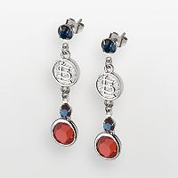 LogoArt St. Louis Cardinals Silver Tone Crystal Logo Drop Earrings