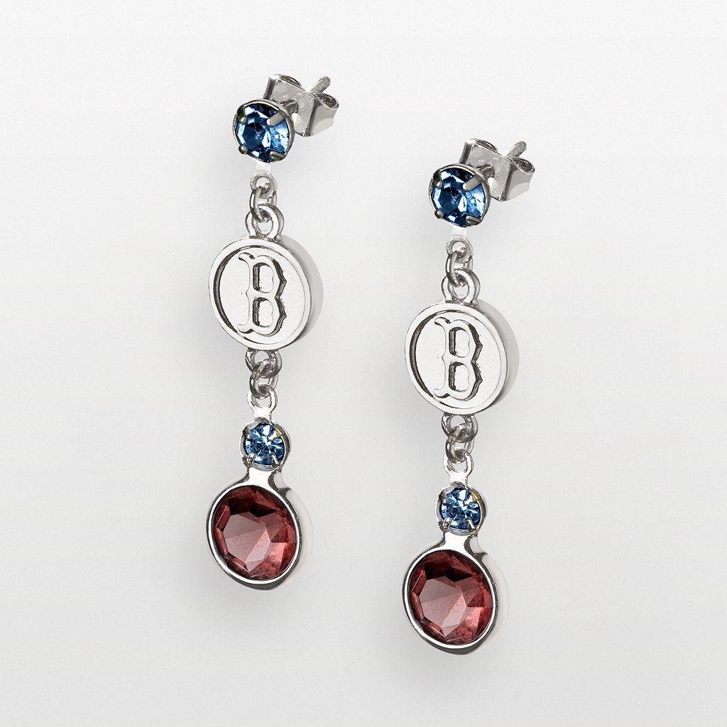 LogoArt Boston Red Sox Silver Tone Crystal Logo Linear Drop Earrings