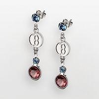 LogoArt Boston Red Sox Silver Tone Crystal Logo Linear Drop Earrings